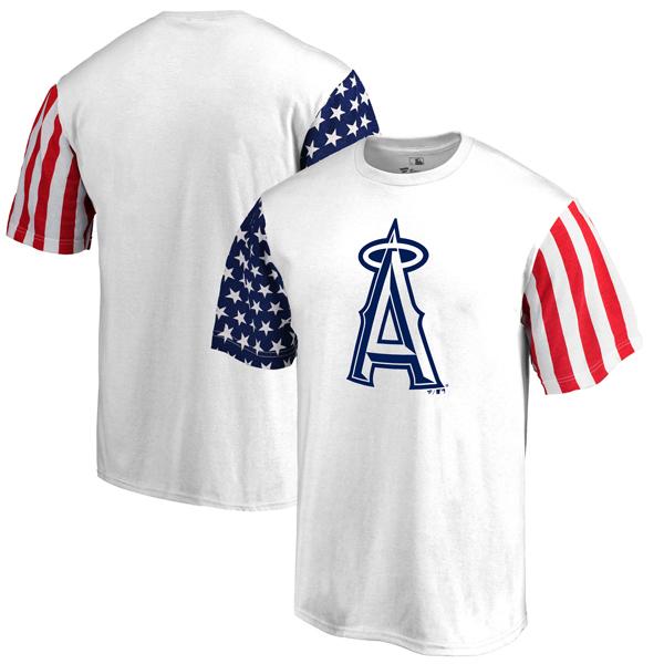 お取り寄せ MLB エンゼルス スターズ & ストライプス Tシャツ ホワイト