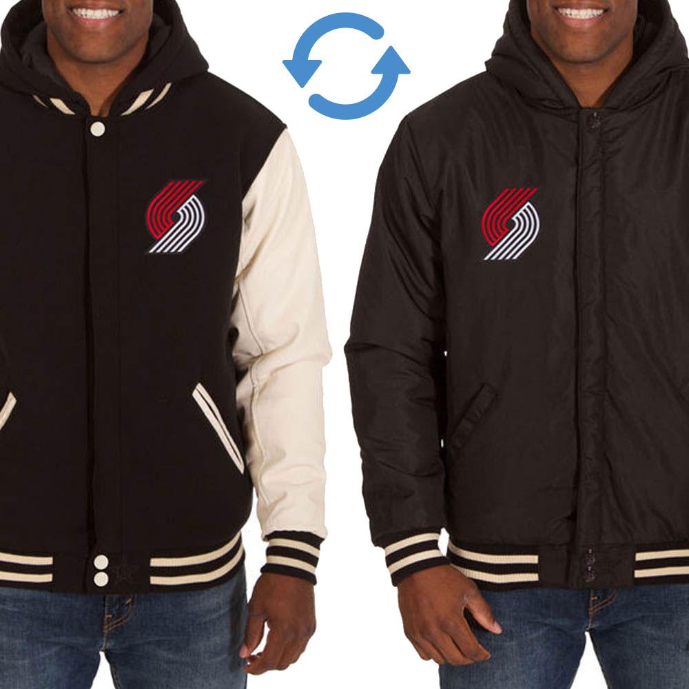 NBA トレイルブレイザーズ リバーシブル フリース フェイクレザー ジャケット/ジャンパー JH デザイン/JH Design ブラック/クリーム
