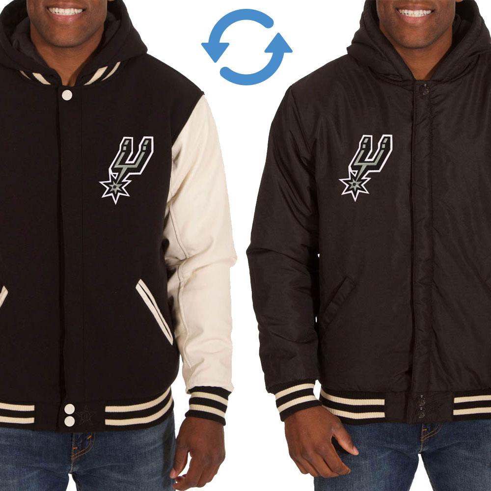 NBA スパーズ リバーシブル フリース フェイクレザー ジャケット/ジャンパー JH デザイン/JH Design ブラック/クリーム