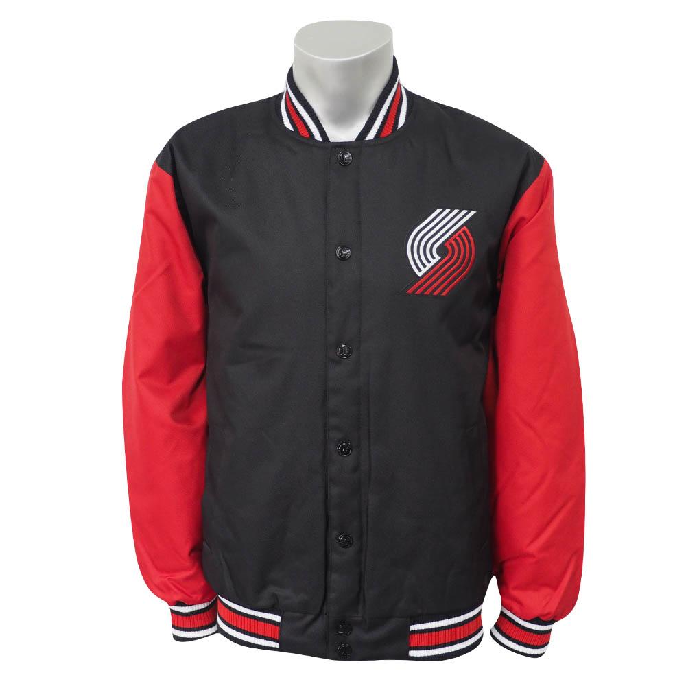 NBA トレイルブレイザーズ ポリツイル ロゴ ジャケット/ジャンパー JH デザイン/JH Design ブラック/レッド