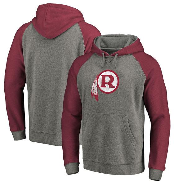 お取り寄せ NFL レッドスキンズ スローバック ロゴ Tri-Blend ラグラン パーカー グレー/バーガンディ