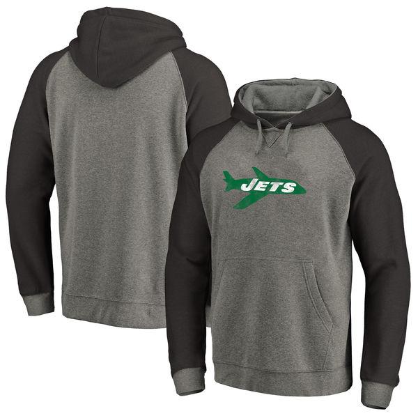 お取り寄せ NFL ジェッツ スローバック ロゴ Tri-Blend ラグラン パーカー グレー/ブラック