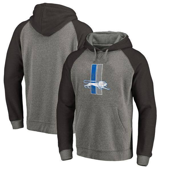 NFL ライオンズ スローバック ロゴ Tri-Blend ラグラン パーカー グレー/ブラック