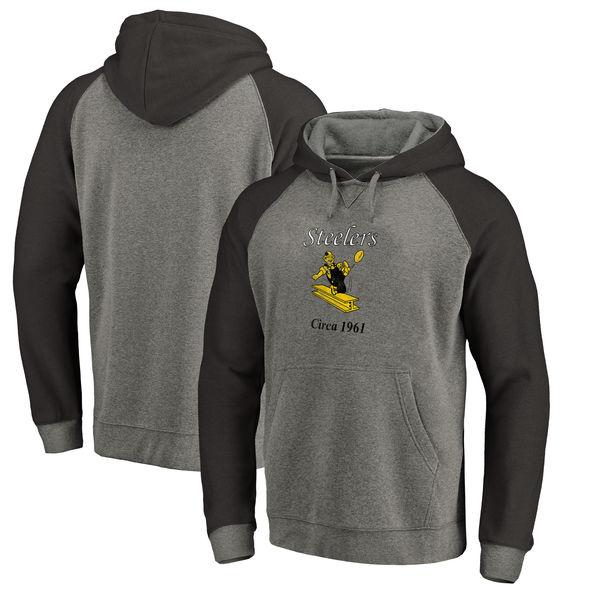 お取り寄せ NFL スティーラーズ スローバック ロゴ Tri-Blend ラグラン パーカー グレー/ブラック