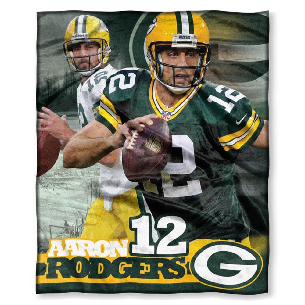 NFL パッカーズ アーロン・ロジャース プレイヤーズ HD シルクタッチ スロー ブランケット/毛布 ノースウェスト/Northwest