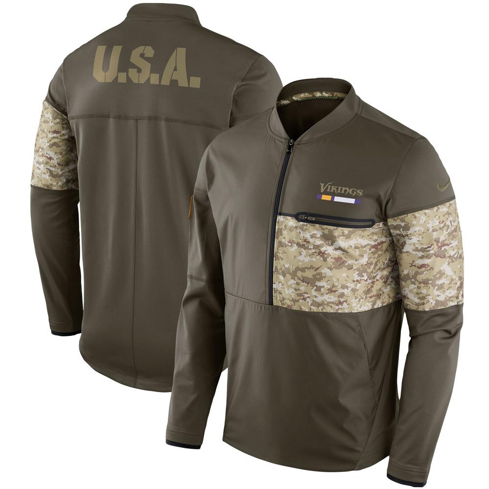 35511fe8ec91 NFL Vikings 2017 Salute to Service side line hybrid half zip jacket Nike   Nike 852