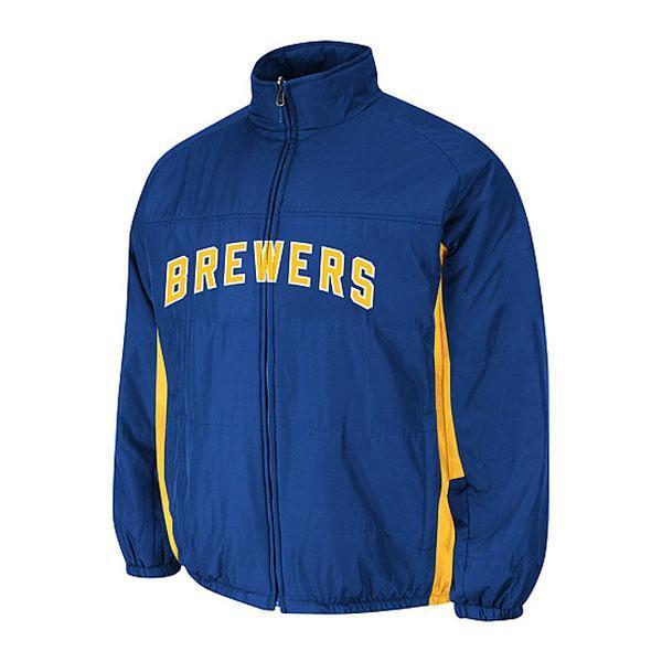 MLB ブリュワーズ オーセンティック ダブル クライメイト オンフィールド ジャケット マジェスティック/Majestic ブルー【1803セール】【セール】