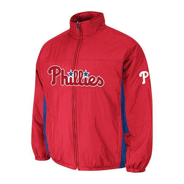 MLB Phillies authentic double Kurai mate on field jacket majestic /Majestic red