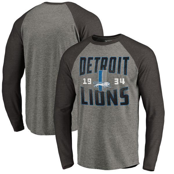 NFL ライオンズ タイムレス コレクション アンティーク スタック Tri-Blend ロングTシャツ アッシュ