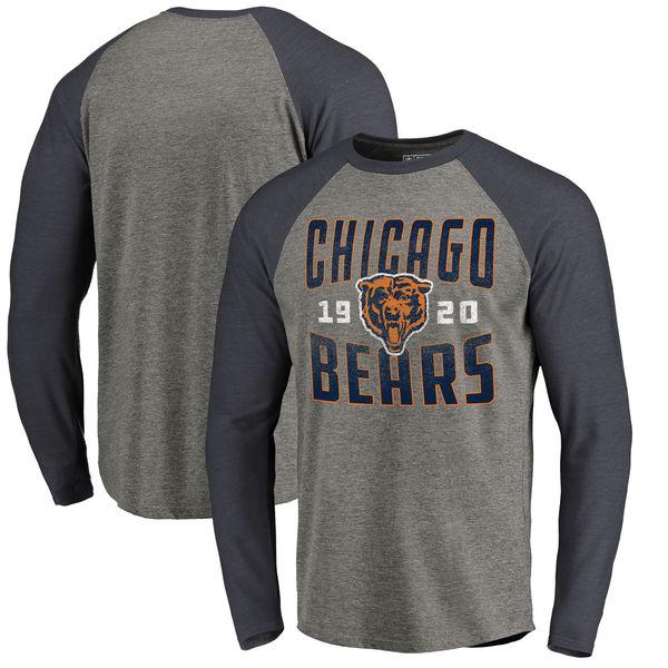 NFL ベアーズ タイムレス コレクション アンティーク スタック Tri-Blend ロングTシャツ アッシュ