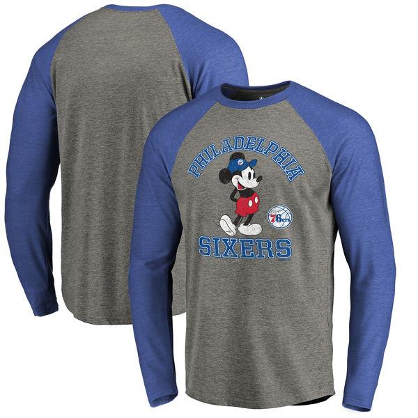 お取り寄せ NBA 76ers ディズニー ミッキーマウス トラディション Tri-Blend ロングTシャツ アッシュ