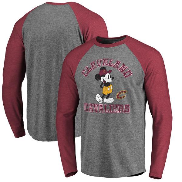 お取り寄せ NBA キャバリアーズ ディズニー ミッキーマウス トラディション Tri-Blend ロングTシャツ アッシュ