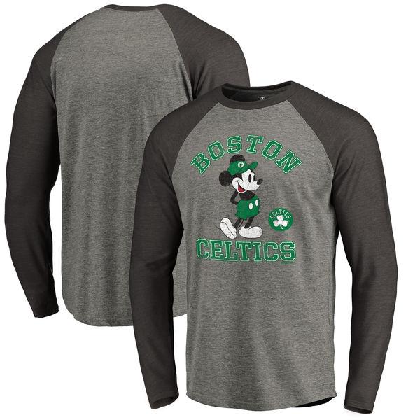 お取り寄せ NBA セルティックス ディズニー ミッキーマウス トラディション Tri-Blend ロングTシャツ アッシュ