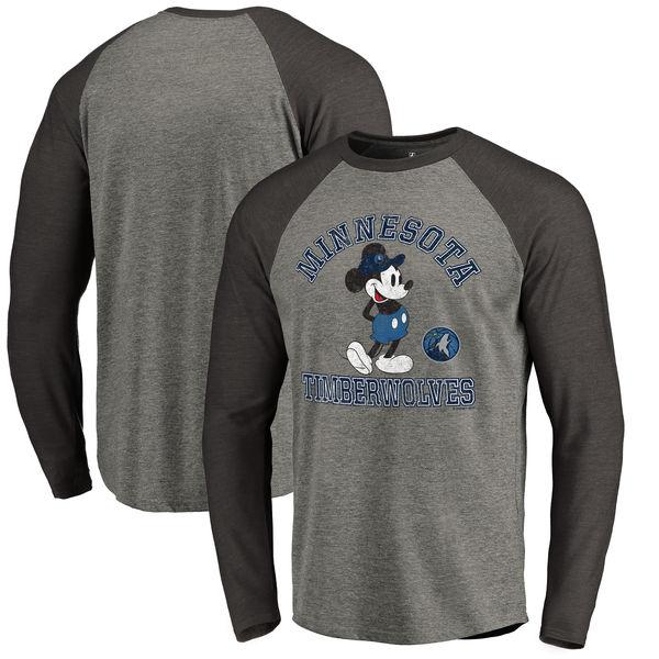 お取り寄せ NBA ティンバーウルブズ ディズニー ミッキーマウス トラディション Tri-Blend ロングTシャツ アッシュ