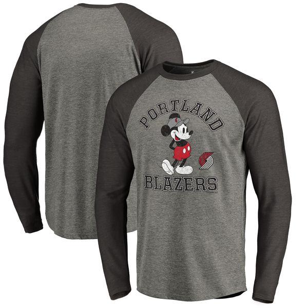 お取り寄せ NBA トレイルブレイザーズ ディズニー ミッキーマウス トラディション Tri-Blend ロングTシャツ アッシュ