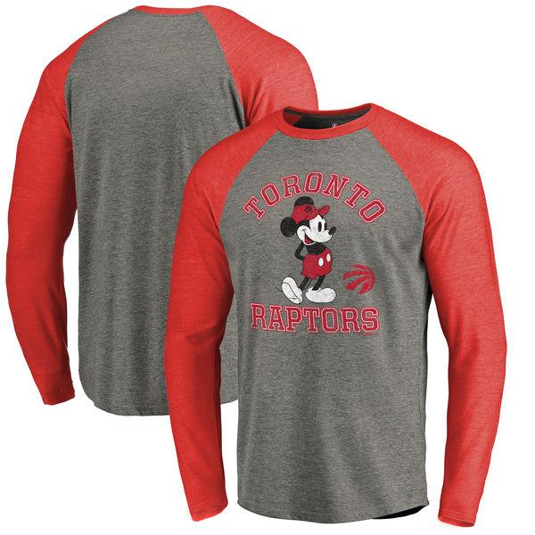 お取り寄せ NBA ラプターズ ディズニー ミッキーマウス トラディション Tri-Blend ロングTシャツ アッシュ