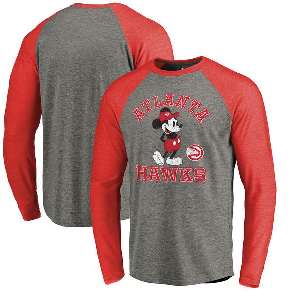 お取り寄せ NBA ホークス ディズニー ミッキーマウス トラディション Tri-Blend ロングTシャツ アッシュ