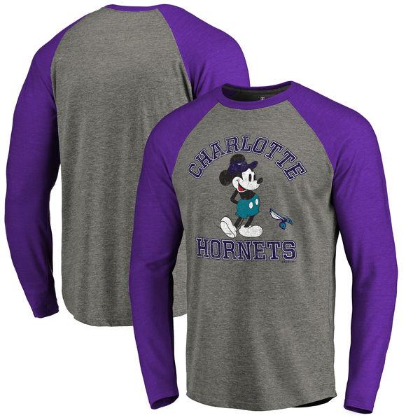 お取り寄せ NBA ホーネッツ ディズニー ミッキーマウス トラディション Tri-Blend ロングTシャツ アッシュ