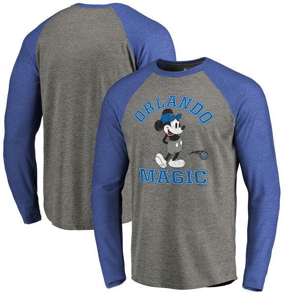 お取り寄せ NBA マジック ディズニー ミッキーマウス トラディション Tri-Blend ロングTシャツ アッシュ