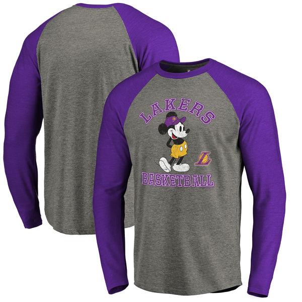 お取り寄せ NBA レイカーズ ディズニー ミッキーマウス トラディション Tri-Blend ロングTシャツ アッシュ