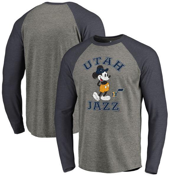 お取り寄せ NBA ジャズ ディズニー ミッキーマウス トラディション Tri-Blend ロングTシャツ アッシュ