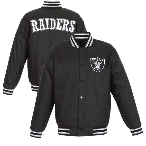 NFL レイダース ポリツイル バーシティ ジャケット JH デザイン/JH Design ブラック