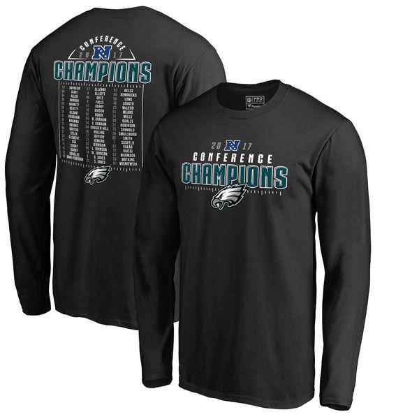 NFL イーグルス 2017 NFC カンファレンスチャンピオン記念 カバー 2 ロースター ロングTシャツ ブラック