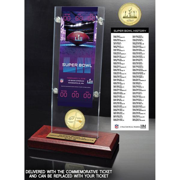 お取り寄せ NFL 第52回スーパーボウル デュエリング ペイトリオッツ vs イーグルス チケット ホルダー ブロンズ コイン The Highland Mint【1910価格変更】