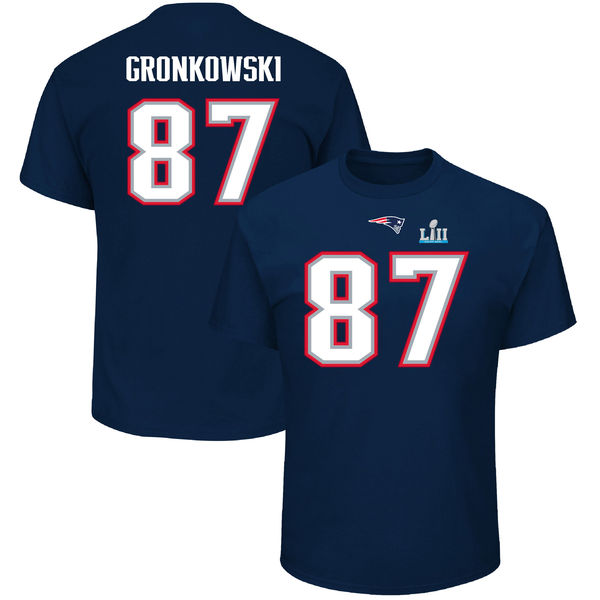 NFL ペイトリオッツ ロブ・グロンコウスキー 第52回スーパーボウル 進出記念 ネーム & ナンバー Tシャツ 半袖 ネイビー