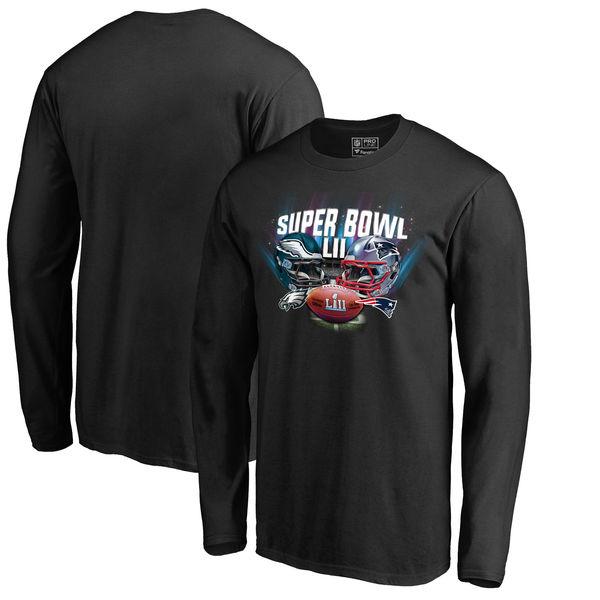 NFL 第52回スーパーボウル デュエリング ペイトリオッツ vs イーグルス ダイム ロングスリーブ Tシャツ 長袖 ブラック