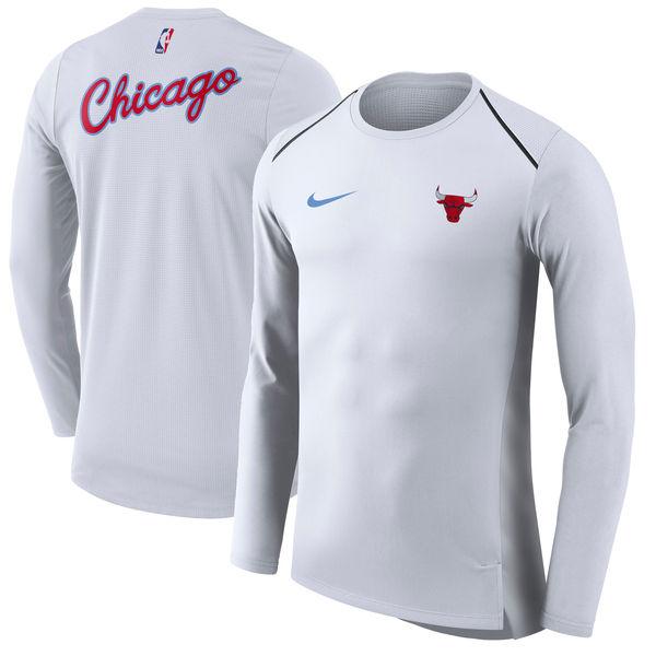 お取り寄せ NBA ブルズ シティ・エディション ハイパーライト ロング パフォーマンス Tシャツ ナイキ/Nike ホワイト