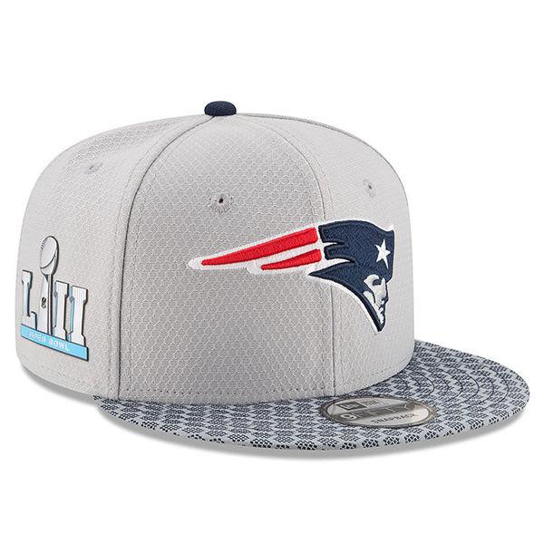NFL ペイトリオッツ 第52回スーパーボウル サイドパッチ サイドライン 9FIFTY アジャスタブル キャップ/帽子 ニューエラ/New Era シルバー