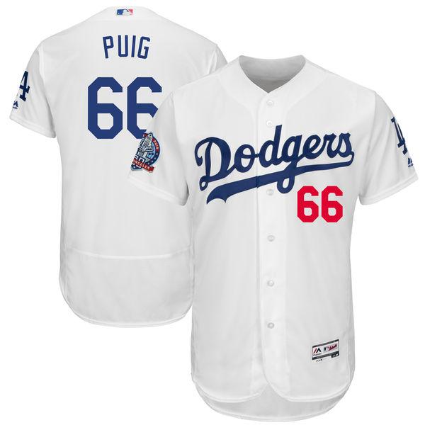 お取り寄せ MLB ドジャース ヤシエル・プイグ 60周年記念 パッチ付き オーセンティック ユニフォーム マジェスティック/Majestic ホーム