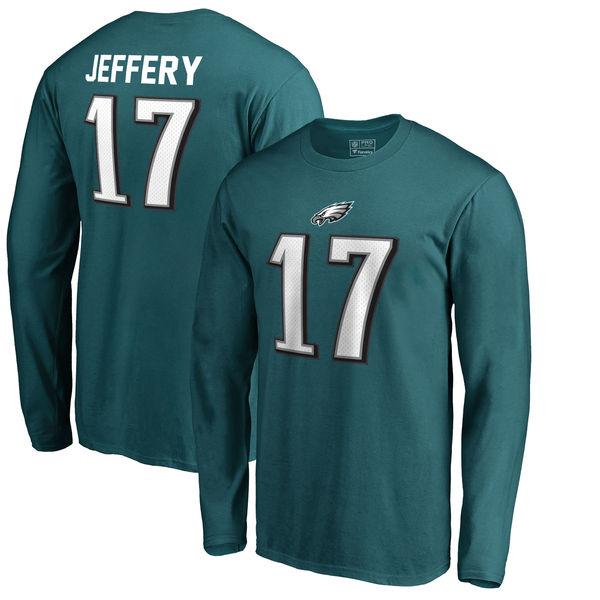 NFL イーグルス アルション・ジェフリー オーセンティック スタック ネーム&ナンバー ロング Tシャツ ミッドナイトグリーン