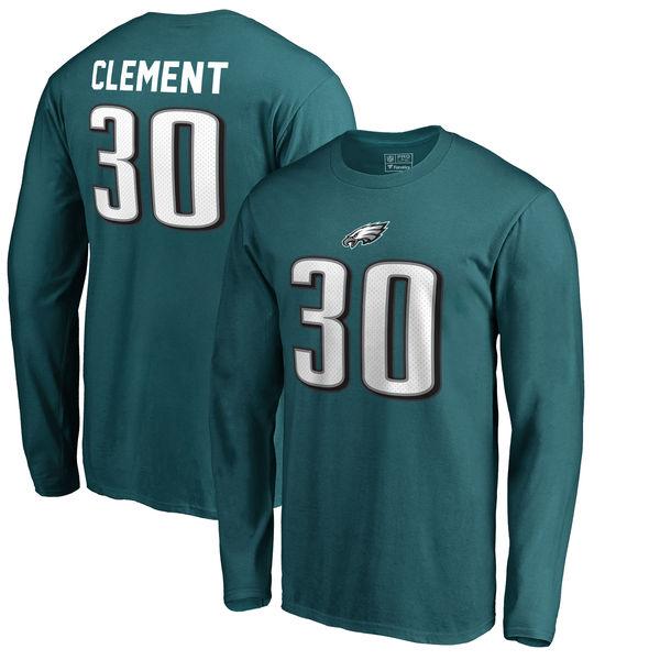 NFL イーグルス コーリー・クレメント オーセンティック スタック ネーム&ナンバー ロング Tシャツ ミッドナイトグリーン