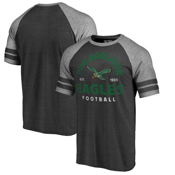 NFL イーグルス タイムレス コレクション ヴィンテージ アーチ ラグラン Tシャツ ブラック