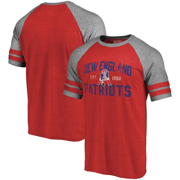 NFL ペイトリオッツ リフレッシュ テナシティー レトロ ラグラン Tri-Blend Tシャツ レッド