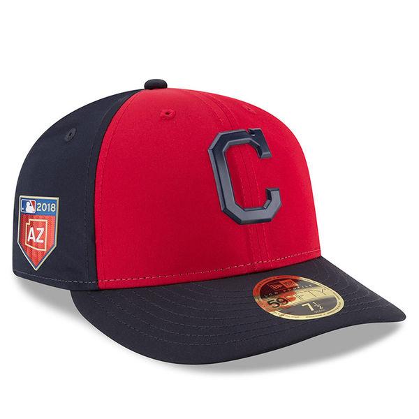 お取り寄せ MLB インディアンス 2018 スプリング トレーニング プロライト ロープロファイル 59FIFTY フィッテッド キャップ/帽子 ニューエラ/New Era レッド
