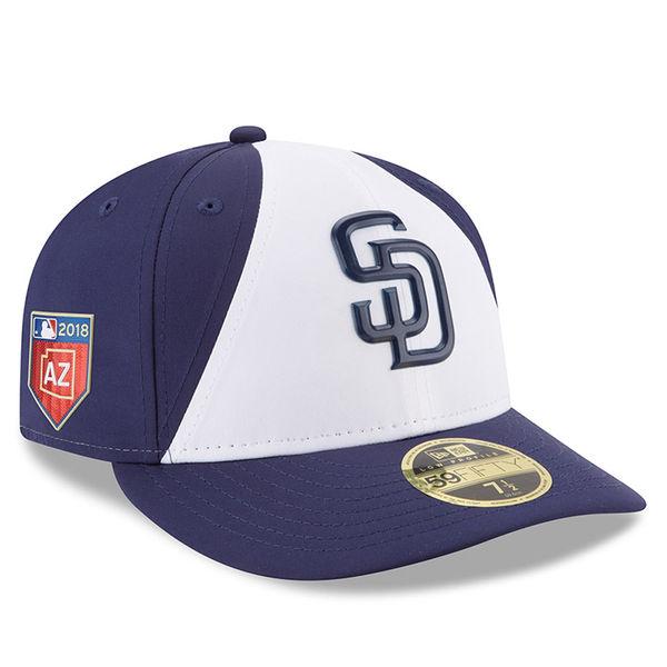 お取り寄せ MLB パドレス 2018 スプリング トレーニング プロライト ロープロファイル 59FIFTY フィッテッド キャップ/帽子 ニューエラ/New Era ホワイト