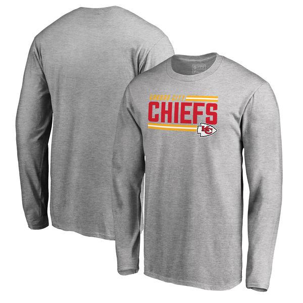 NFL チーフス アイコニック コレクション ストライプ ロングTシャツ アッシュ