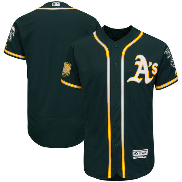 お取り寄せ MLB アスレチックス 50周年記念パッチ付き 選手着用モデル ユニフォーム/ユニホーム マジェスティック/Majestic オルタネートグリーン