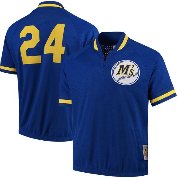 お取り寄せ MLB マリナーズ ケン・グリフィーJR. クーパーズタウン バッティングプラクティス クオータージップ ユニホーム Mitchell & Ness