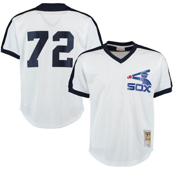 お取り寄せ MLB ホワイトソックス カールトン・フィスク クーパーズタウン メッシュ バッティングプラクティス ユニホーム Mitchell & Ness