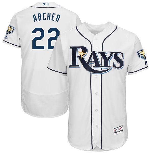 MLB レイズ クリス・アーチャー 20周年記念パッチ付き 選手着用モデル ユニフォーム/ユニホーム マジェスティック/Majestic ホーム