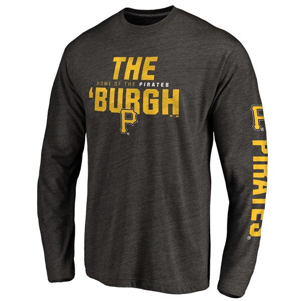 お取り寄せ MLB パイレーツ ロイヤルティ クリーンカラー ロゴ ロングTシャツ メンズ ブラック