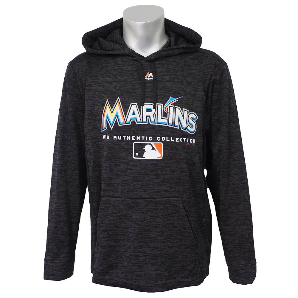 MLB マーリンズ 選手着用 オーセンティック チーム ドライブ ウルトラストリーク フリース パーカー/フーディー マジェスティック/Majestic