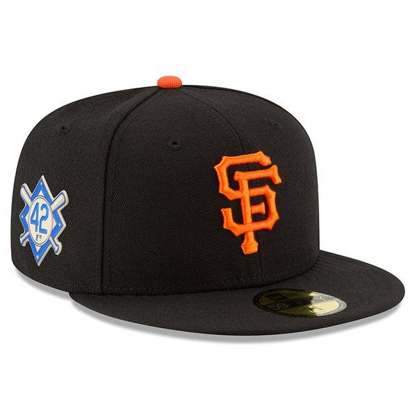 お取り寄せ MLB ジャイアンツ 2018 ジャッキー・ロビンソン・デイ 59FIFTY フィッテッド キャップ/帽子 ニューエラ/New Era ブラック