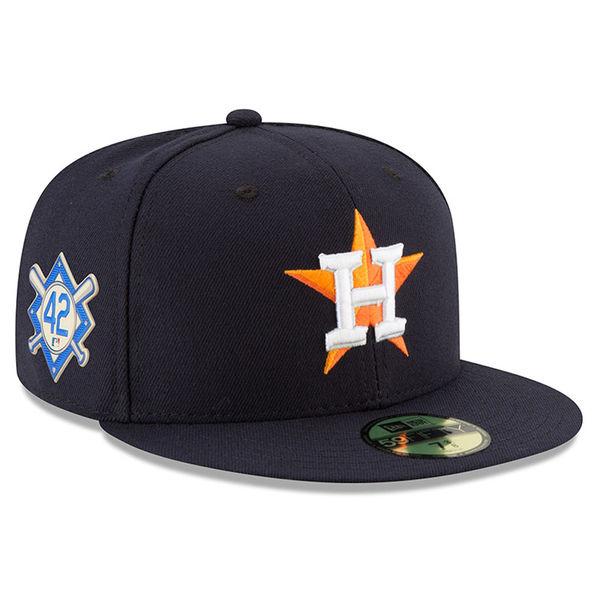 お取り寄せ MLB アストロズ 2018 ジャッキー・ロビンソン・デイ 59FIFTY フィッテッド キャップ/帽子 ニューエラ/New Era ネイビー