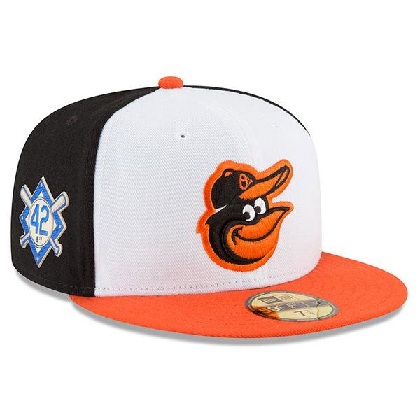 お取り寄せ MLB オリオールズ 2018 ジャッキー・ロビンソン・デイ 59FIFTY フィッテッド キャップ/帽子 ニューエラ/New Era ブラック