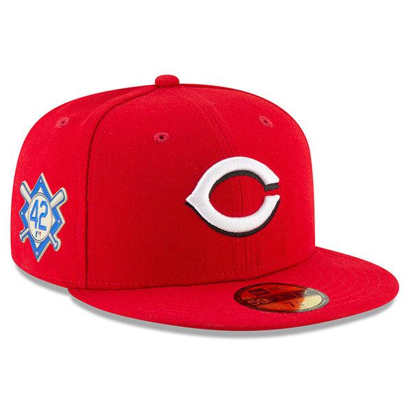 お取り寄せ MLB レッズ 2018 ジャッキー・ロビンソン・デイ 59FIFTY フィッテッド キャップ/帽子 ニューエラ/New Era レッド